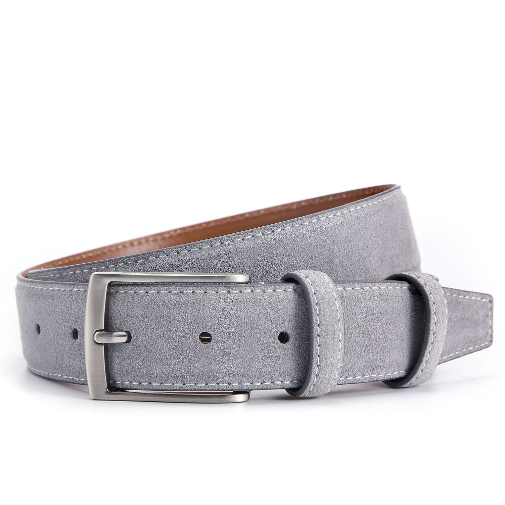 Luxury Genuine Suede Leather Belts for Men Male with Vintage Brushed Nickel Pin Buckle 90-130CM