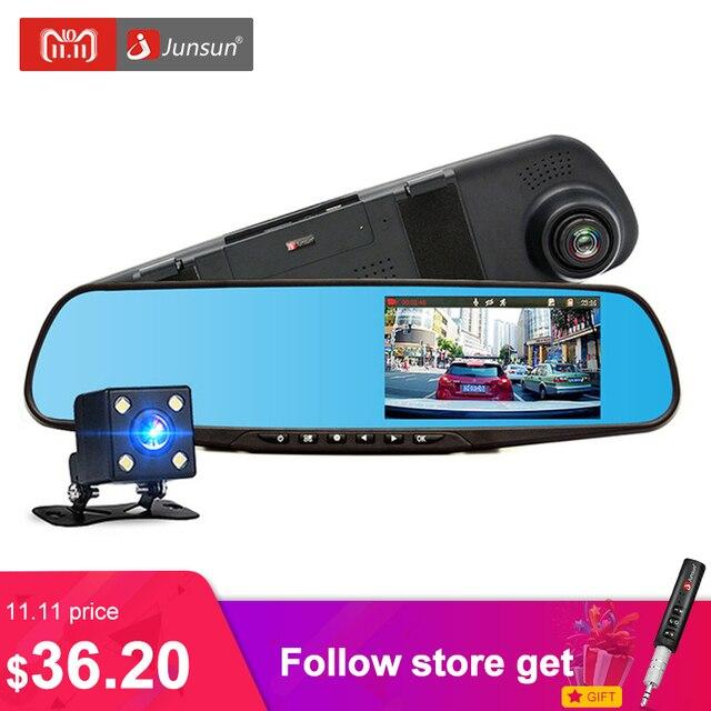 Junsun автомобильный видеорегистратор с двумя объективами full hd 1080 P видеорегистратор заднего зеркало С Заднего вида Автомобильный ВИДЕОРЕГИСТРАТОР Зеркало Даш cam автомобилей видеорегистраторы