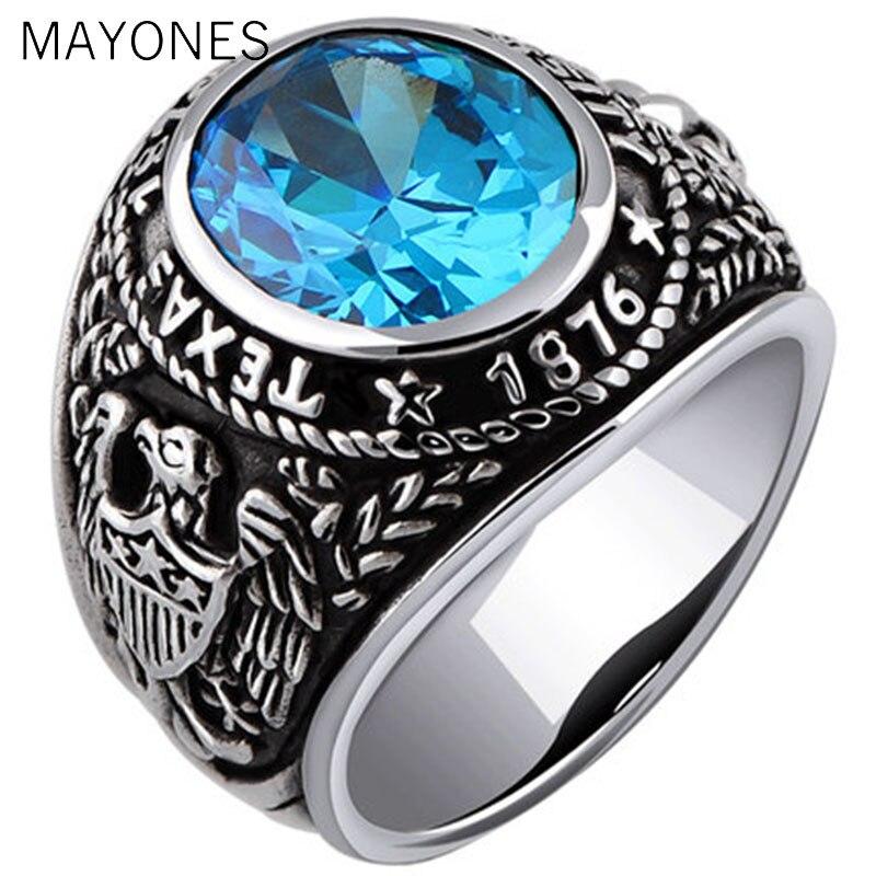 Véritable 925 en argent Sterling Vintage anneaux anniversaire incrusté bleu cristal argent sculpture ancre et aigle ailes hommes anneau