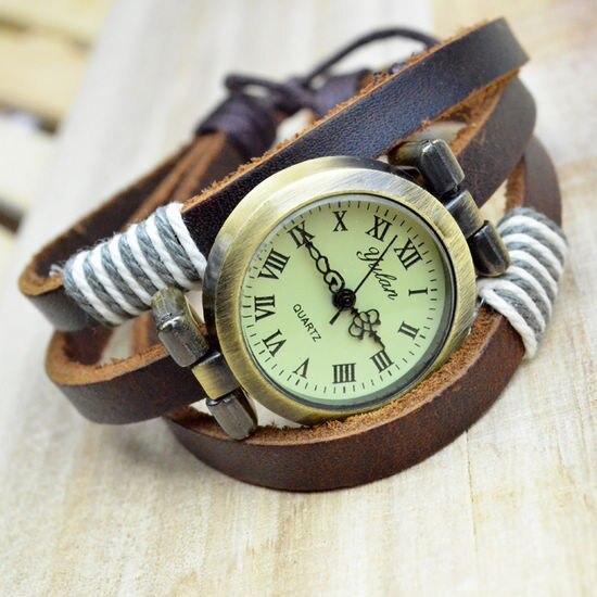 High Quality 2016 New Brand Vintage Retro Handmade Multilayer Genuine Leather Strap Analog Quartz Dress Watches for Women Brown
