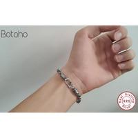 Silver 925 men bracelet Solid Thai Silver Twist Chain Bracelet 100% Sterling Silver 925 Simple Thin Chain Bracelet Men's Jewelry
