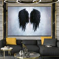 Modern Angel Wings Black Feather Canvas Painting Scandinavian Posters and Prints Nordic Style Wall Art Picture for Living Room