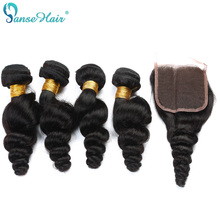 Panse Hair Malaysian Szűz Haj Loose Wave Hair 4 Csomag Hair with Closure 4X4 Testreszabott 8-28 Hüvelyk 100% Human Hair