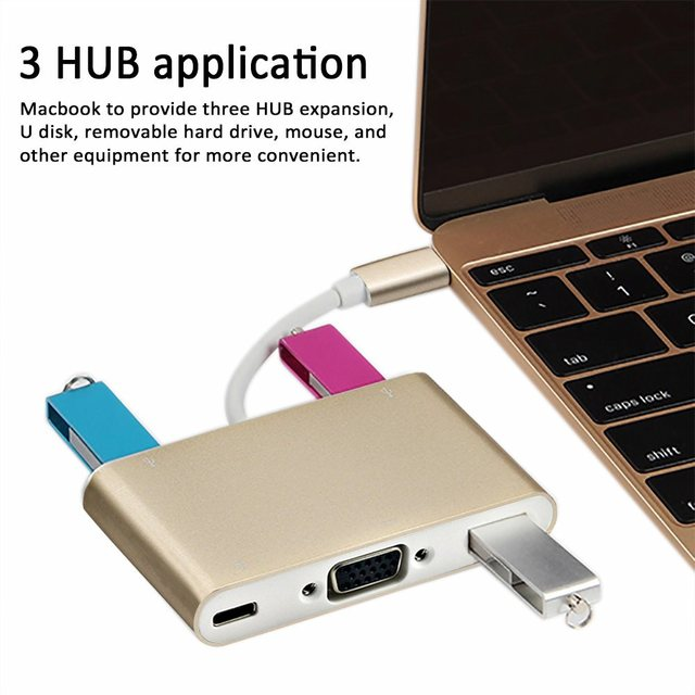 1pcs/lot high quality Silver USB-C USB 3.1 Type C to VGA Monitor & USB OTG & Charger Adapter Aluminum shell V57