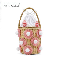 beach bag straw totes bag bucket summer bags with tassels women handbag 2018 new high quality pink Bag