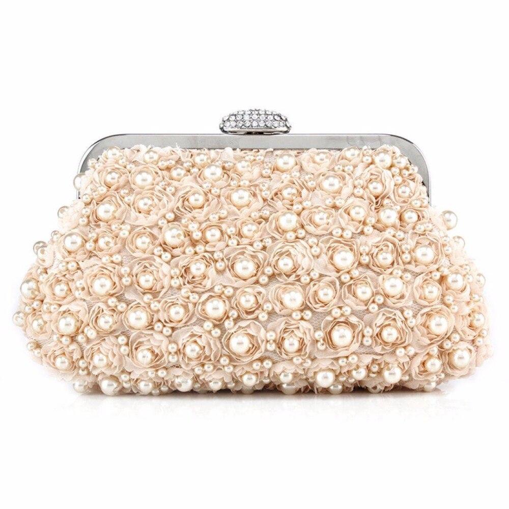 2017 Hot Sale Ladies Pearl Evening Bag Women Crystal Beading Clutches Chain Handbag  Wedding Purse Bags 8358fbeb954e