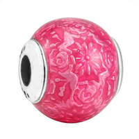 Top Quality 925 Sterling Silver Bead Charm Transparent Cerise Enamel FREEDOM Beads Fit Pandora ESSENCE Bracelet