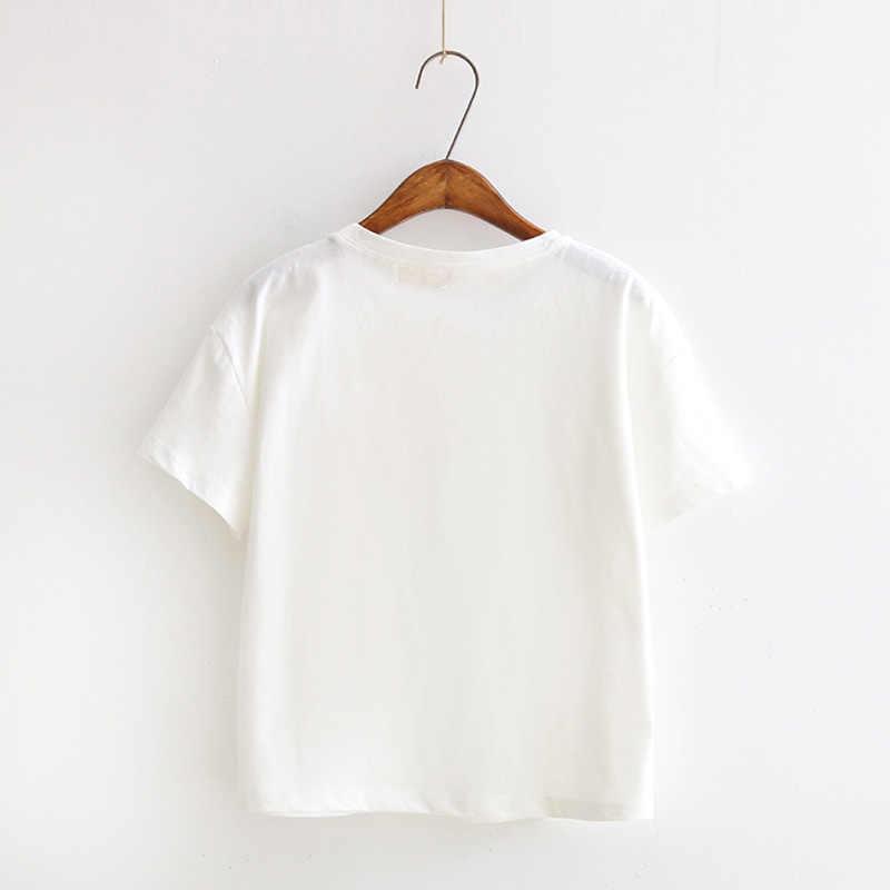 Streetwear Hipster 2019 Musim Panas Wanita Lengan Pendek T Shirt Wanita Baru Fashion Merek Pakaian Kasual T-shirt Atasan Wanita KAOS