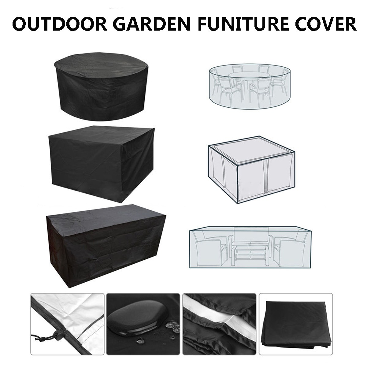 Admirable Us 17 85 49 Off Black Garden Patio Waterproof Furniture Cover Set Table Bench Cube Outdoor Tablecloth Table Runner 4 Sizes Rectangle Round In Caraccident5 Cool Chair Designs And Ideas Caraccident5Info