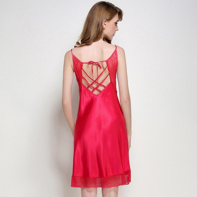 Ladies Sexy Silk Satin Nightgown Lace Sleepshirt Sleeveless Nighties Round Neck Nightdress Solid Sleeping Dress For Women
