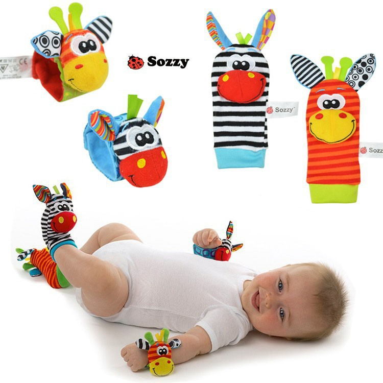 0-12 Months Baby Fun Toy Baby Rattles Toys Animal Socks Wrist Strap With Rattle Baby Rattles