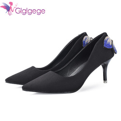 Glglgege Crystal Pointed Toe Wedding Pumps Shoe 2019 New Women's Solid Flock Fashion Buckle Shallow High Heels Shoes for Women