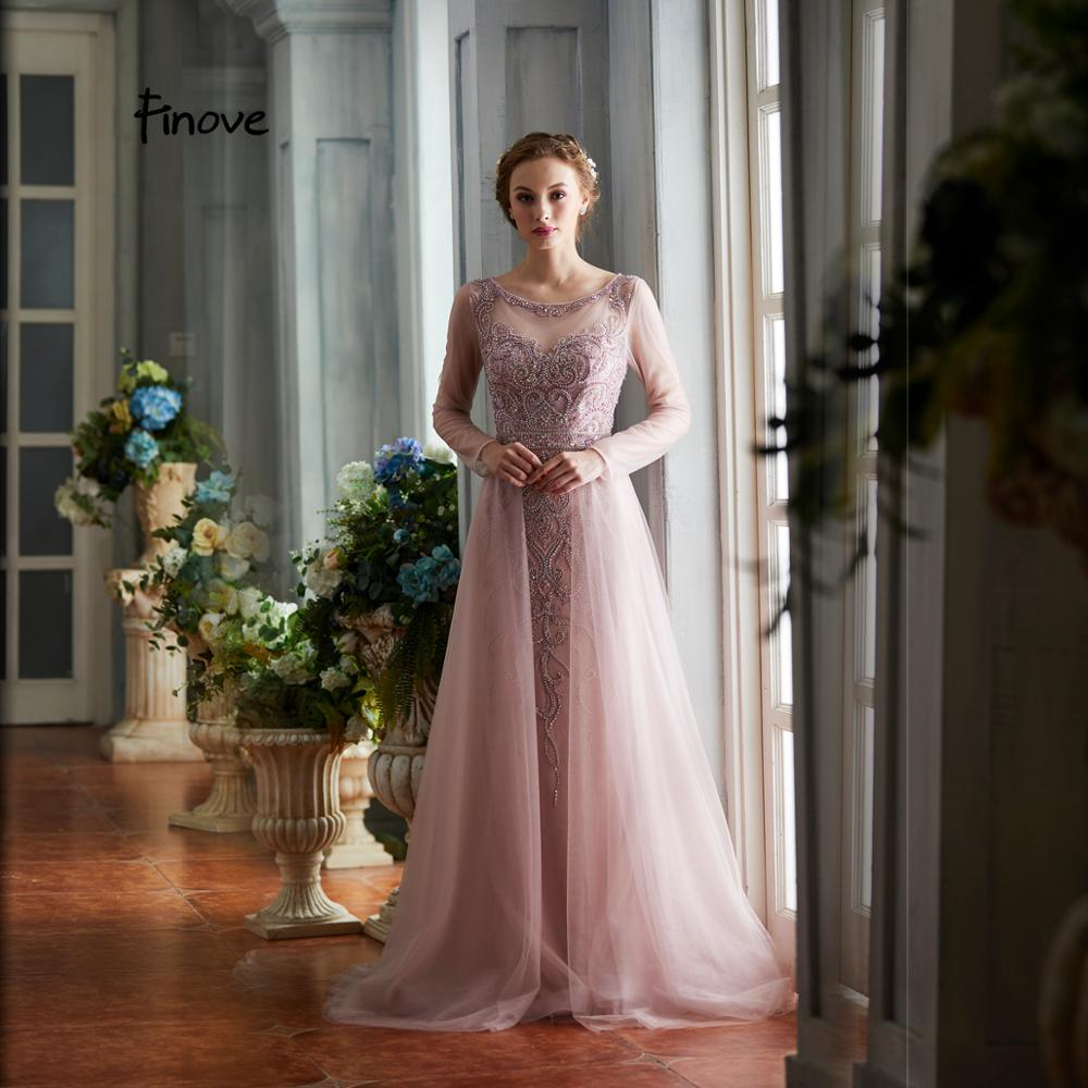 Finove 2019 New Prom Dresses Elegant O Neck With Beading Full Sleeves A Line Prom Gowns