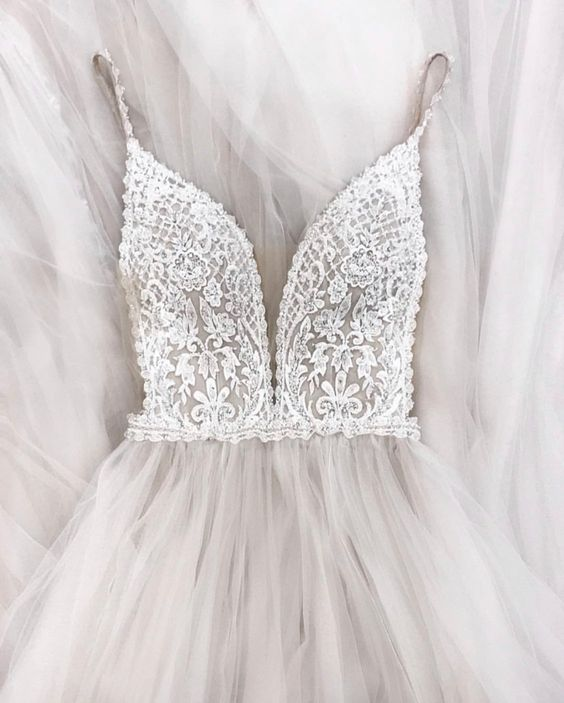 Image 2 - Gorgeous Pearls Beads Lace Applique Tulle V neck Neckline Sweep Train Wedding Dress with Backless A line Beads Spaghetti Straps-in Wedding Dresses from Weddings & Events