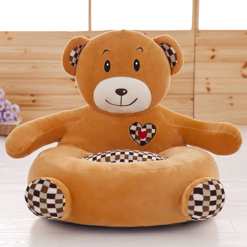Cartoon Baby Sofa Skin Soft Plush Chair Cover For Children Washable Sofa Only Cover With Zipper Without PP Cotton Filling Gift