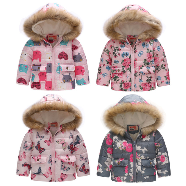 Special Offers New 2018 Fashion Xmas Children Winter Jacket Girls Winter Coat Kids Warm Thick Fur Collar Hooded down Coats For girls clothing