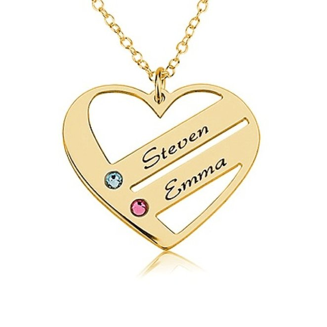 2016 New Design Custom Necklace Popular Birthstone Name Necklace for Women Senfai Brand Fashion Crystal Heart Necklace