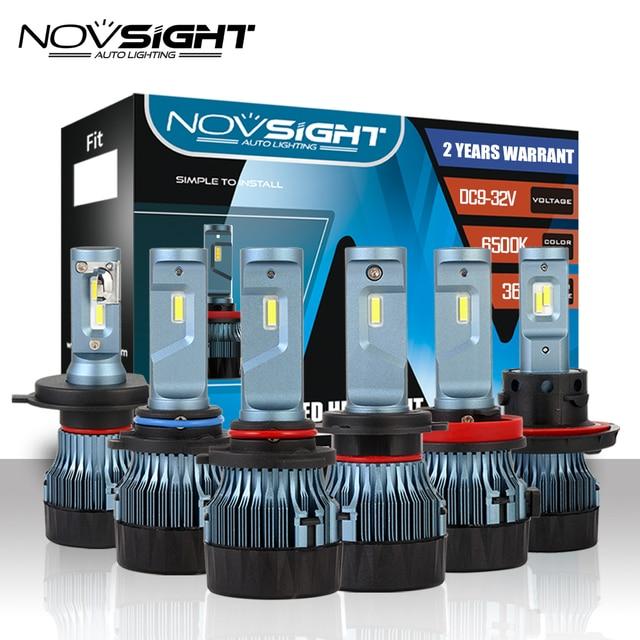 NOVSIGHT H4 H7 H11 LED Car Headlights HB2/9003 H8/H9 9005 9006 H13 60W 10000LM Auto Driving Fog Lamp DIY Fan 6500K White D45