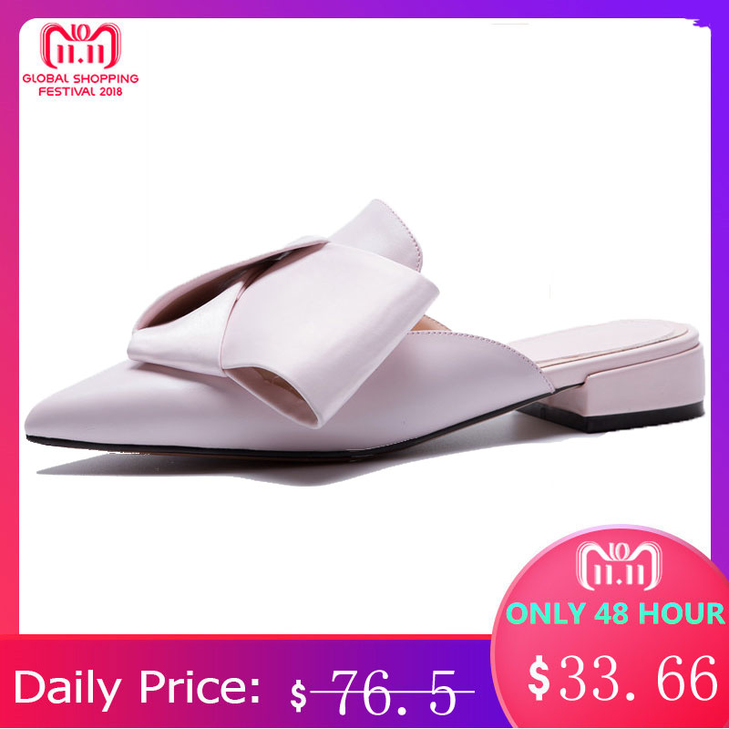 MORAZORA Large size 34-43 New 2018 fashion genuine leather women sandals pointed toe womens mules summer lady casual dress shoes morazora eur size 34 41 new fashion genuine leather shoes woman slip on wedges women sandals peep toe mules summer lady shoes
