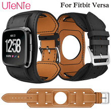 Leather Bracers wristband for Fitbit Versa smart watch strap bracelet accessories luxury business replacement watchband