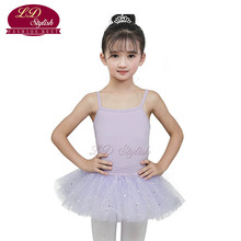 Girls Purple Stage Performance Competition Dance Skirt Kids Ballet Leotards Clothing Children Dancewear Dancing Practice Dresses