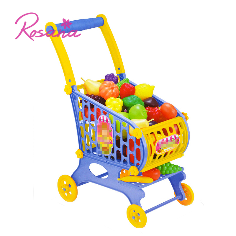 Kids Pretend Play Kitchen Toys Set Shopping Cart Miniature Squishy Food Pizza Magnetic Vegetable Fruit Cutting Kit For Children