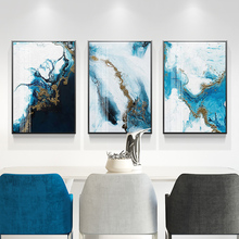 Nordic Abstract color spalsh blue golden canvas painting poster and print unique decor wall art pictures for living room bedroom