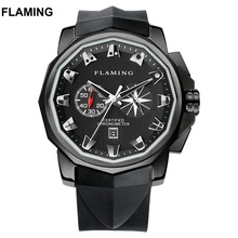 FLAMING Hero Series Classical 4 Models ADMIRAL S CUP Miyota Chronograph Watches Men Super Black Wristwatches