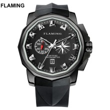 FLAMING Hero Series Classical 4 Models ADMIRAL'S CUP Miyota Chronograph Watches Men Super Black Wristwatches Gifts