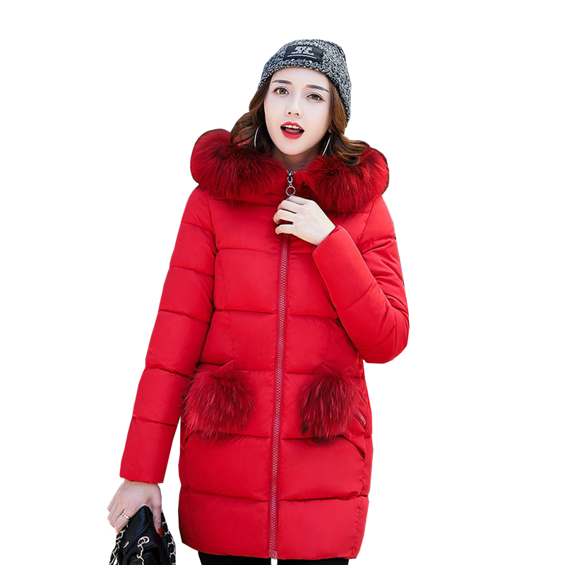 2017 winter women hooded coat fur collar thicken warm long jacket female plus size outerwear parka ladies Parkas feminino 4L10 bjcjwf 2017 winter jacket women wadded long parkas female outerwear hooded coat cotton padded fur collar parka thicken warm 1pc