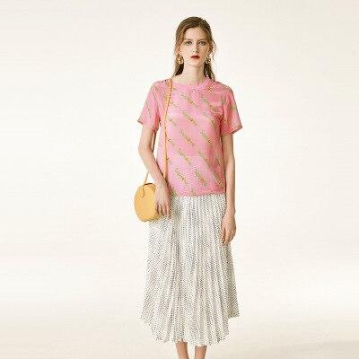 2019 nueva Camiseta corta, cuello redondo para mujer, Top suelto, mangas cortas de seda con letras impresas - 4