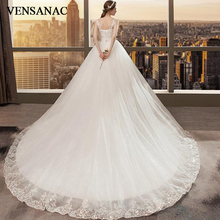 VENSANAC Crystal V Neck Lace Appliques Court Train Ball Gown Wedding Dresses 2018 Bow Sash Backless Bridal Gowns