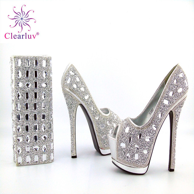 Clearluv 1710299 Silver Color High Quality Italian Design Shoes With Matching  Bags Decorated with Rhinestone Shoes 2d1eb0750522