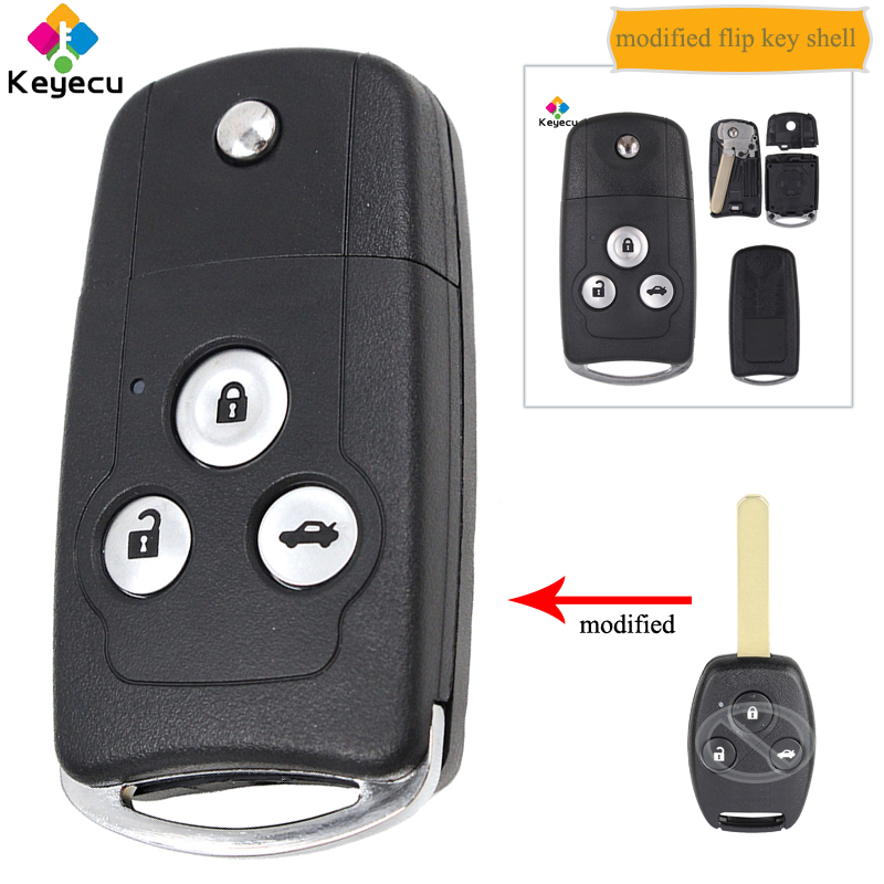 KEYECU Replacement Modified Flip Folding <font><b>Remote</b></font> Car Key Shell Case - 3 Buttons - FOB for <font><b>Honda</b></font> Accord Civic <font><b>CRV</b></font> City Odyssey Fit image