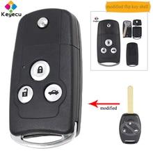 KEYECU сменный откидной складной чехол для автомобильного ключа с дистанционным управлением, чехол 3 кнопки брелок для Honda Accord Civic CRV City odyssy Fit
