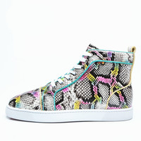 2018 Top quality Men Mixed Color Snakeskin Shoes Lace Up Sneaker Multicolor Sapatos High Top Men Casual Shoes