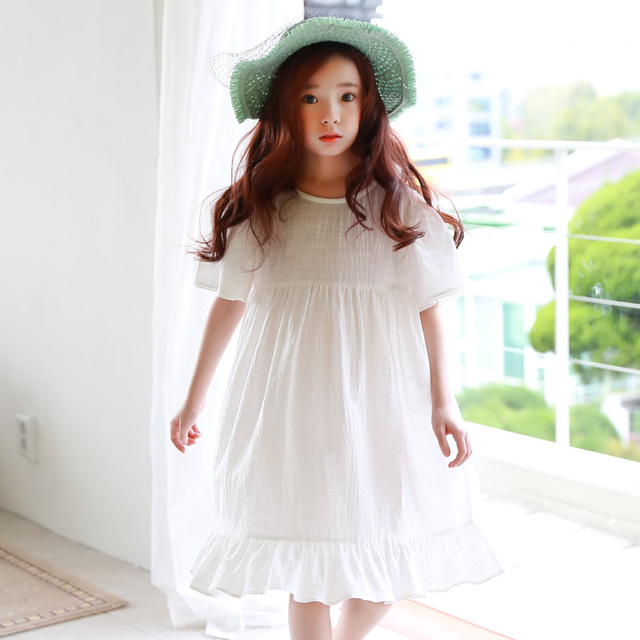a2810b9e0 cotton knee length summer dress girl 9 year midi long white ruffles ...