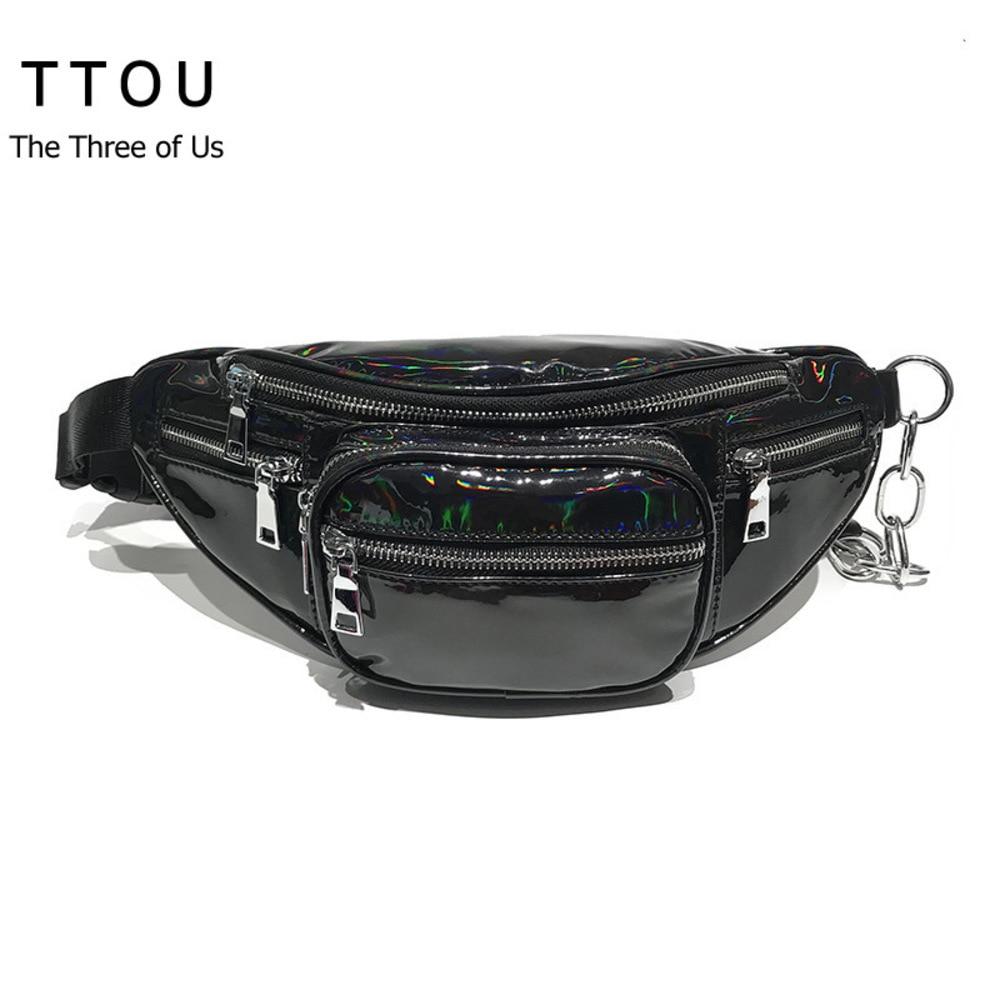 TTOU Fashion Waist Bag Women Fanny Pack Bags Luxury Brand Clear Transparent Hologram Belt Bag Portable Chest Bags