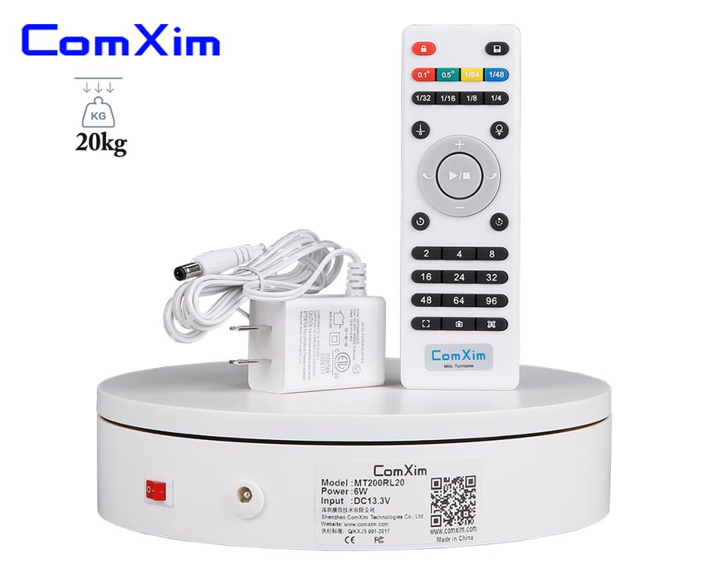 ComXim MT200RL20 20cm 7 87in Remote Control Speed Direction 360 Electric Rotating Photography Turntable for Display