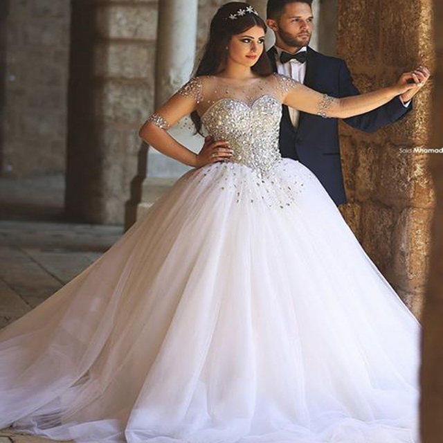 Luxury Wedding Dresses Stones And Crystals Sheer For Bride 2016 Tulle Ball Gown Long Sleevs Muslim