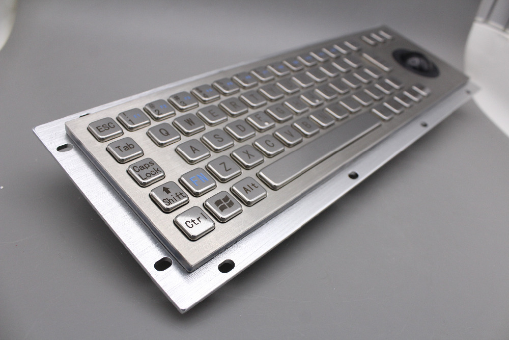Image 2 - Stainless Steel Industrial Metal Keyboard With Trackball 36mm Conductive Rubber Rugged Panel Mount Keypad For Information Kiosk-in Keyboards from Computer & Office