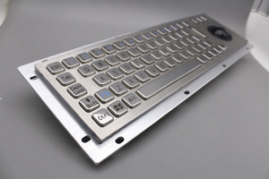 Image 2 - Stainless Steel Industrial Metal Keyboard With Trackball 36mm Conductive Rubber Rugged Panel Mount Keypad For Information Kiosk