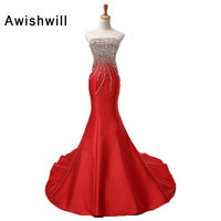 Custom Made Strapless Lace up Back Beaded Rhinestones Satin Mermaid Evening Dress Long Prom Dresses Fashion Christmas Dress