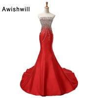 Custom Made Strapless Lace up Back Beaded Rhinestones Satin Mermaid Evening Dress Long Prom Dresses Fashion Christmas Dress