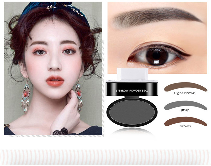 Dropshipping Hot Sale 2 Natural Shapes Eyebrow Stamp Brow Stamps Powder Pallette Delicated Beauty Makeup Tool For Women Girls