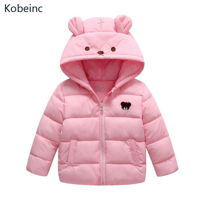 Kobeinc Baby Girls&Boys Down Jacket Solid Cute Cartoon Children Outerwear Keeping Warm Kids Winter Coat Casual Hooded Thick Tops 2016 winter children warm thick snow proof coat baby boys white duck down jacket vest kids casual long style outerwear parkas
