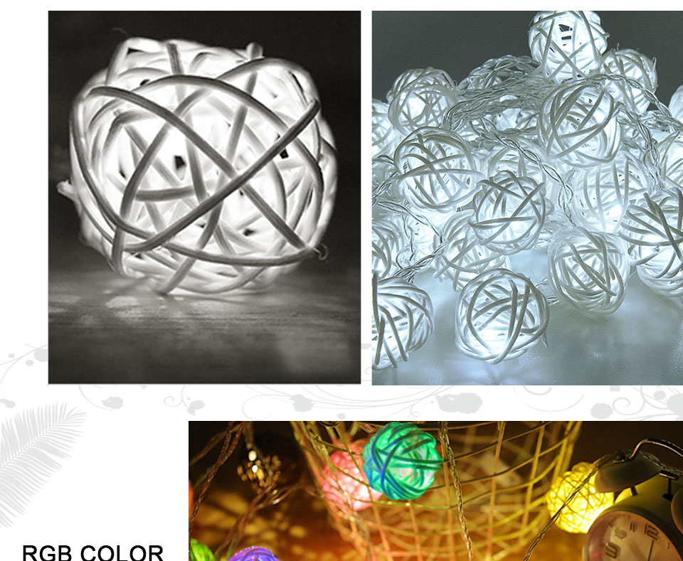 Rattan Balls LED String Lights Battery Garland Cotton Ball Light Chain Guirlande Lumineuse Holiday Christmas Lights Balls (12)
