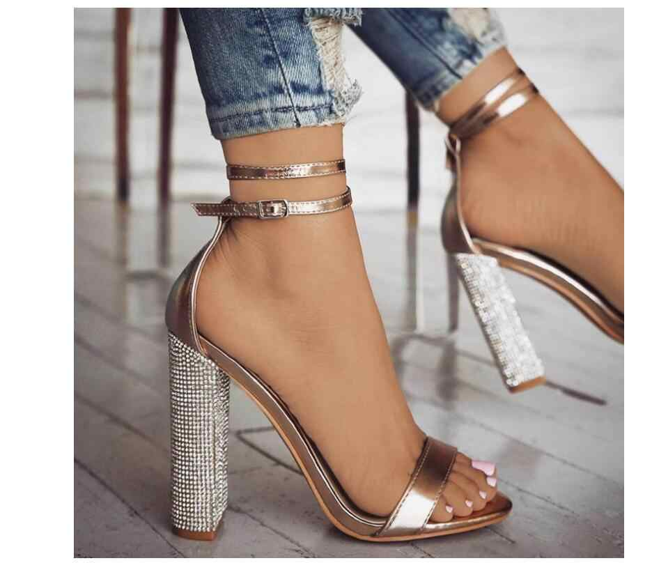 74f911326c 2019 European and American Sexy Gold Rhinestone High-Heeled Open-Toed  Sandals Models Long