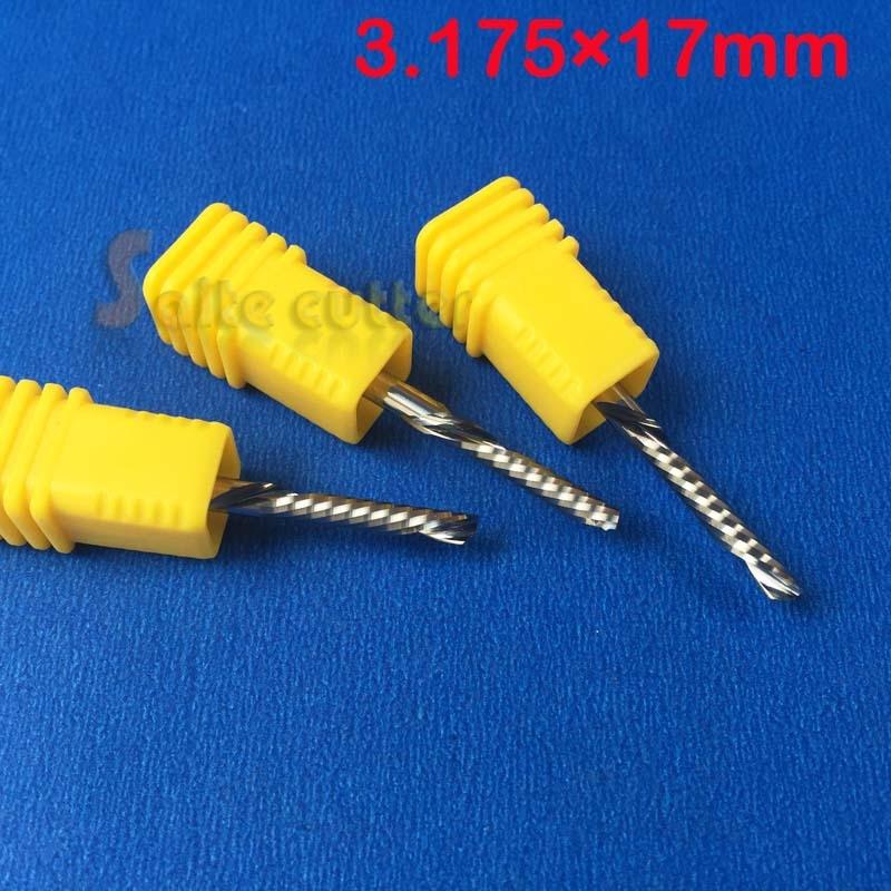 10 pz 3.175x17mm mancino taglio cutter spirale singolo flauto fresa - Macchine utensili e accessori - Fotografia 2
