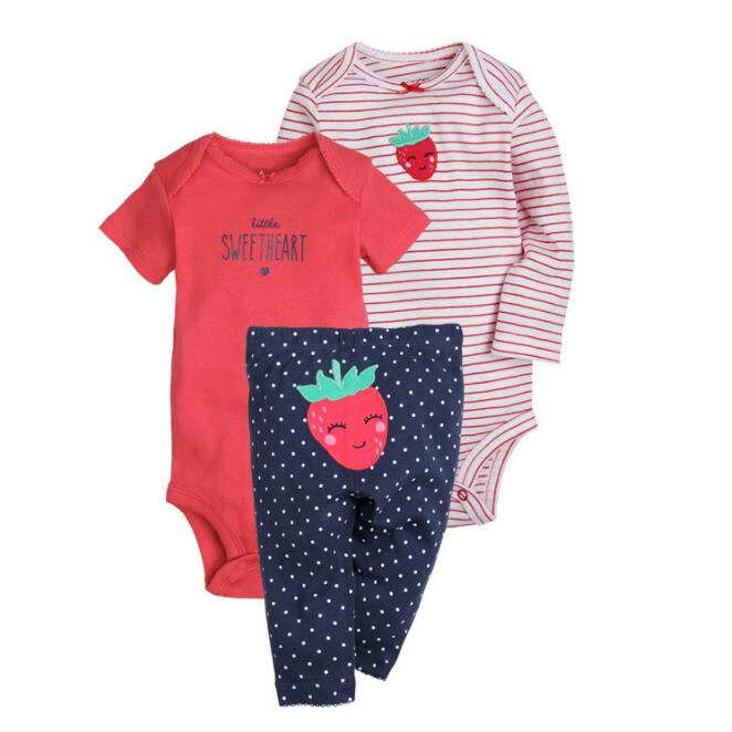 2018 summer spring Baby clothing ! cotton bodysuits + pants 3 pc baby sets 100% cotton baby girl clothes , infant roupas baby girl dress spring children girl clothing set cotton girl sets white lace skirt cute roupas bebe 2018 summer kid clothes